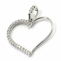 SOLID 18K WHITE GOLD PENDANT HEART WITH CUBIC ZIRCONIA, 16mm, 0.63 inches image 2