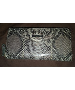 Coach Madison embossed python accordion zip around gray leather wallet 4... - $80.00