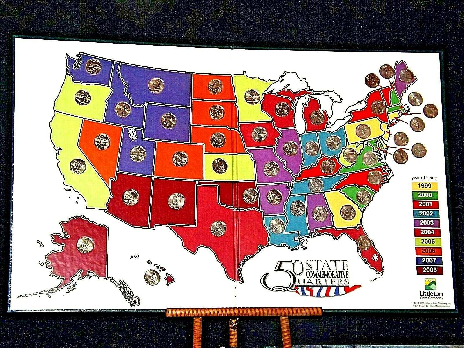 50 State Quarters Collector's Map and Coins AA19-CN19Q6022