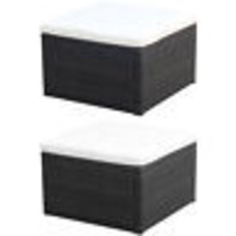 vidaXL Garden Footstool Ottoman Poly Rattan Wicker Outdoor Chair Black/B... - $57.99+
