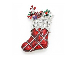 Crystal Enamel Christmas Sock Brooch - $11.95