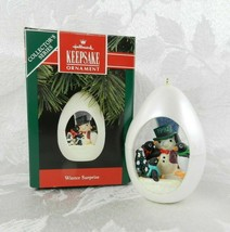 Hallmark Christmas Ornament - Winter Surprise - Penguins Snowman Egg 1992  - $14.84