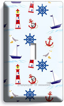 Nautical Anchors Lighthouse Sailboats Single Light Switch Plate Baby Room Decor - $8.99