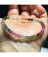 Natural Color Tourmaline Round Beads Silver Bracelet # 060501 - $19.75