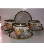 Vintage Louisville Stoneware Cups Saucers Floral Print Country Chic USA - $29.99