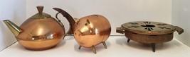 Set 3 Vintage Cooper Wood Brass Candle Holder, Piggy Bank, Tea Kettle Te... - $54.00