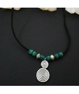Necklace, with Double Spiral and Handmade Glass Beads Natural Healing St... - $16.83