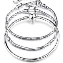 High Quality 17-21cm Silver Snake Chain Link Bracelet Fit European Charm - $13.99
