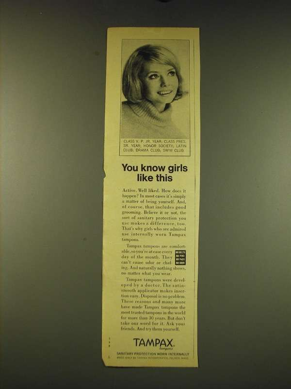 1969 Tampax Tampons Ad - You know girls like and 50 similar items
