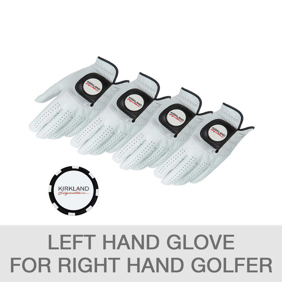 Primary image for Kirkland Signature Leather Golf Glove with Ball Marker, 4-pack