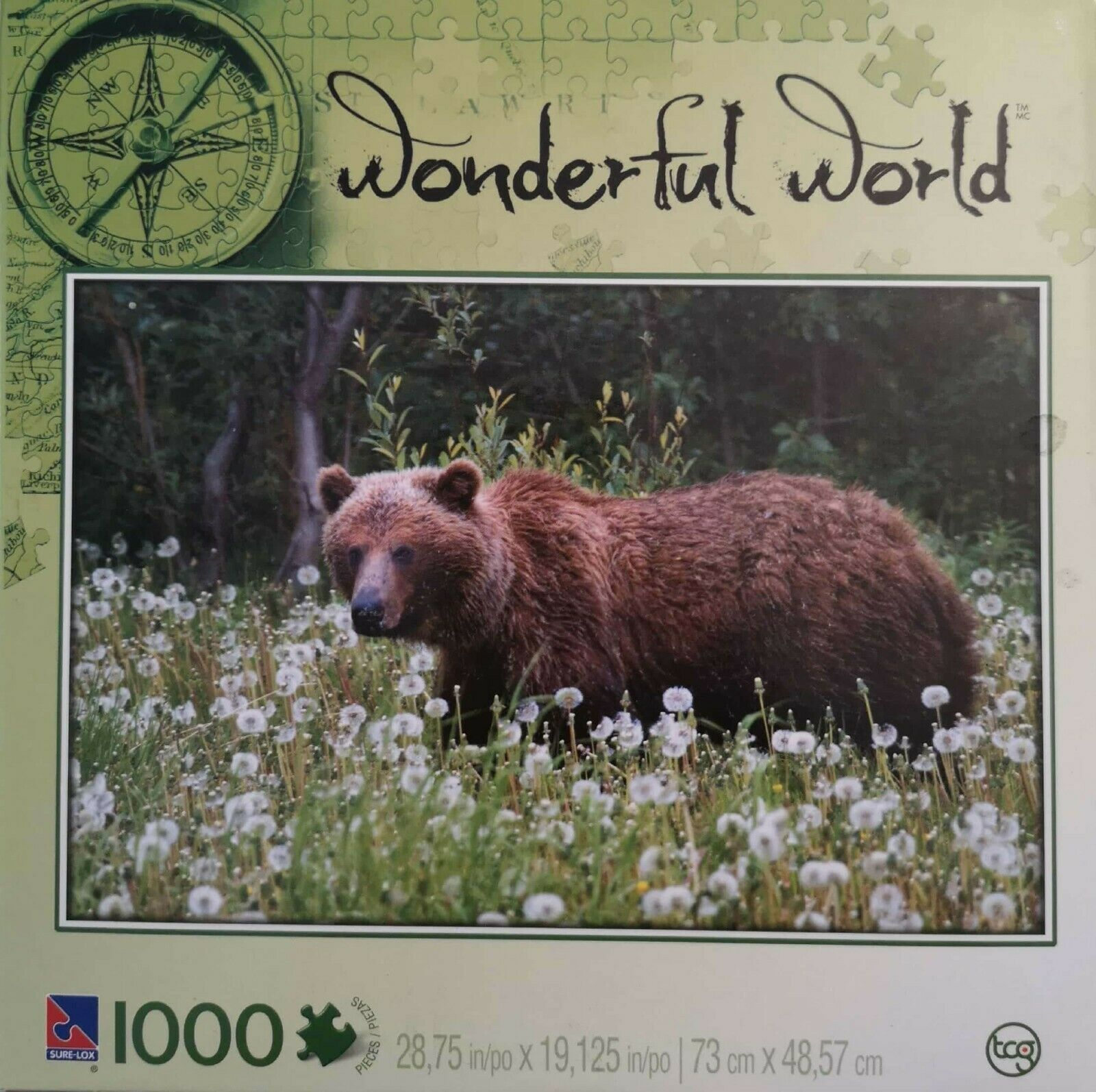 "Primary image for SURE-LOX Puzzles 1000 pc - WONDERFUL WORLD ""Alaskan Grizzly Bear"" / NEW, Sealed"
