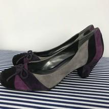 Nine West Women's Suede Purple Gray Black Pump Bow On Toe Size 6 - $39.59