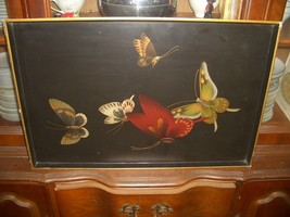 Old Estate Chinese butterfly Wood large  Tray Asian China  24 x16 - $49.50
