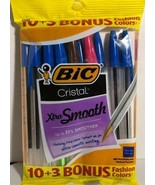 New BIC Cristal Blue Medium Ballpoint Xtra-Smooth Pens w/ Bonus 3 colore... - $10.06