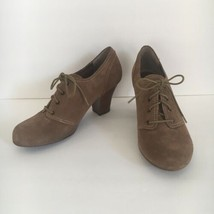 Sofft Cadence Brown Tan Suede Leather Lace Up Oxfords Shoes High Heels Size 9 M - $41.58