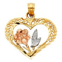 14k Tri-tone Gold Fancy Flower and Heart Pendant - $124.00