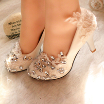 Women Rhinestone Bridal Heels,Lace wedding Heels,bridesmaid Heels uk 3,4... - £32.17 GBP