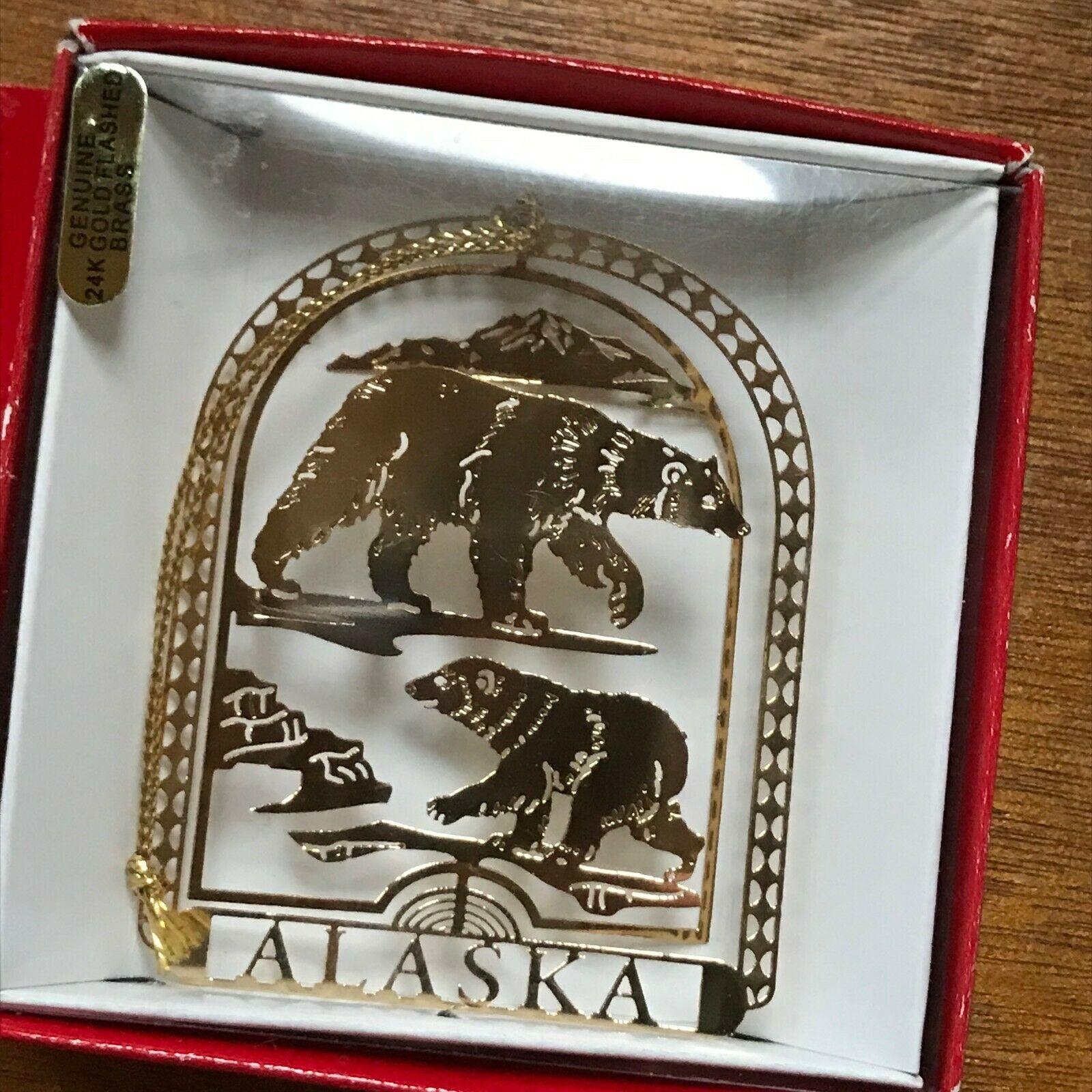 Estate 14K Gold Plated Alaska Bears Travel Souvenir Christmas Tree Ornament – 2. image 3