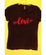 Womens New District Made Black Cap Sleeve T Shirt Glitter Love Size M - $10.95