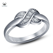 Women's 18k White Gold Plated 925 Silver Engagement Knot Ring Round Cut ... - ₨2,916.80 INR