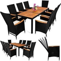Wood & PolyRattan Garden Set Patio Dining Table Set Adjustable Backrest ... - $820.66
