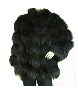Manzari silver fox fur jacket in stunning midnight blue! size 40 - $1,571.28