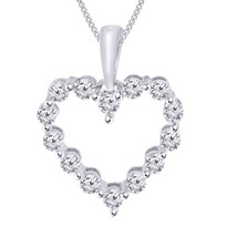 "0.20 Cttw Round Cut Diamond 14k White Gold Over Heart Pendant With 18"" C... - $74.99"
