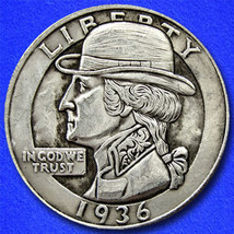 "Dapper George ""Hobo Nickel"" on Washington Quarter Coin ** - $4.79"