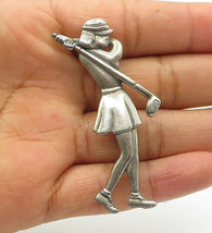 925 Sterling Silver - Vintage Golf Playing Woman Sports Brooch Pin - BP4108 - $35.25