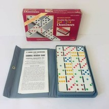 Color Dot Double six Domino Set by Cardinal 28 Pieces Gray Case  - $14.90