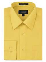 Omega Italy Men's Long Sleeve Solid Regular Fit Yellow Dress Shirt - S image 5