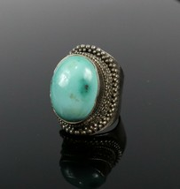 Vintage 925 Sterling Silver Southwest Oval Turquoise Sz 7 Pave Chunky Ri... - $38.11