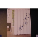 Tahari Emi  Blue and Gray Floral on White Shower Curtain - $36.00