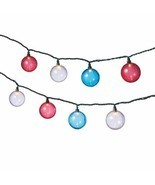 Red White Blue Globe String Lights Two Sets of 10 Lights - $38.00