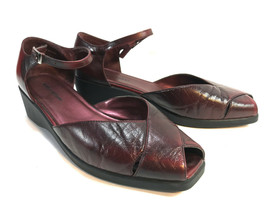 NATURALIZER burgundy leather comfort wedge peep toe  pumps 9.5W FREE SHIP - €36,61 EUR