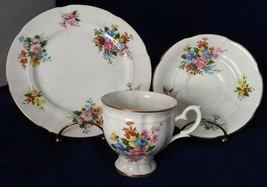 Crown Staffordshire Fine China England Cup, Saucer, Dessert Plate Floral w/Gold - $23.38