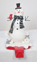 "6"" Tall Snowman w/ Baby Christmas Stocking Holder Hanger Shelf Sitter Holiday - $15.79"