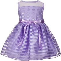 Little Angels Baby Girl 3M-24M Lavender Embroidered Dot Organza Stripe Dress