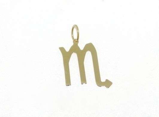18K YELLOW GOLD ZODIAC SIGN PENDANT, ZODIACAL FLAT CHARM, SCORPIO, MADE IN ITALY