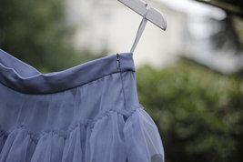 Pink Layered Tulle Midi Skirt High Waisted Layered Tulle Ruffle Skirt Custom image 5
