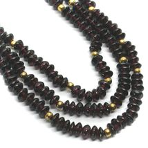 18K YELLOW GOLD THREE WIRES MULTI STRAND NECKLACE WITH DISC GARNET, GOLD SPHERE image 4