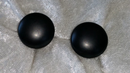 Button black earrings clip on silver tone vintage signed Austria glass - $18.00