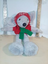 "1990 COMMONWEALTH 18"" Plush Stuffed Christmas Mouse Toy Set Vintage - $11.60"