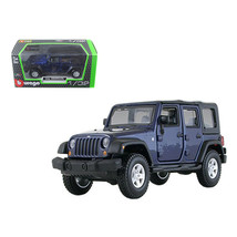 Jeep Wrangler Unlimited Rubicon 4 Doors Blue 1/32 Diecast Model Car by B... - $23.92