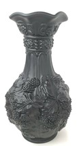 Beautiful Vintage Satin Matte Black Imperial Glass Vase Loganberry - $123.75