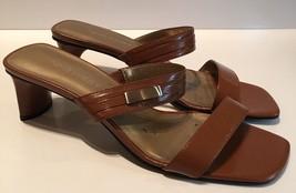 NWOB Nine West Woman's Heels Size 7.5 N-celebrit Brown Leather Slides - €27,69 EUR