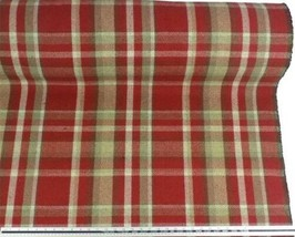 Tartan Check Wool Look and Feel Red Beige Upholstery Fabric Material 3 S... - $4.26+