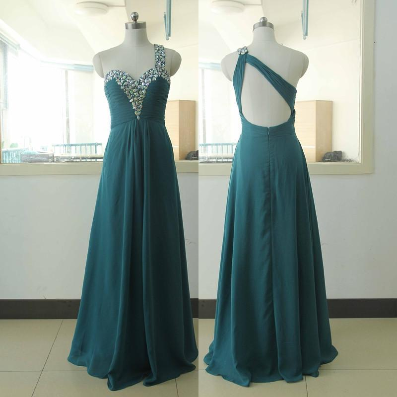 teal prom dress,one shoulder Prom Dress,long prom dress,2018 prom dresses