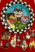 10 CAT PLATE BROOCH PIN FIGURAL LOT G. Cobb Milson & Louis AJC AVON  - $45.00