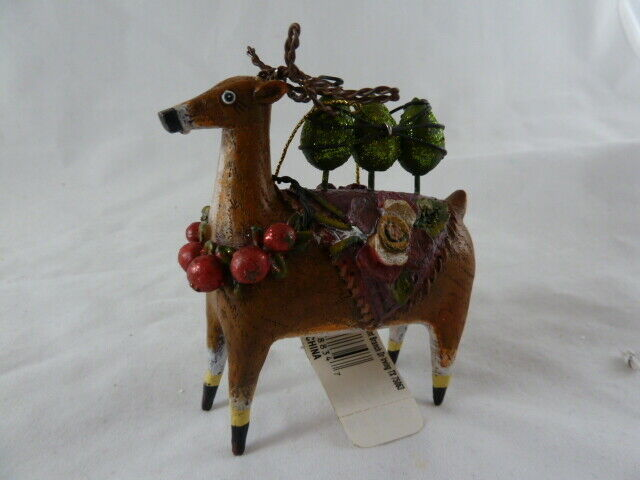 "Primary image for Woodland Christmas Deer Resin Ornament 3.5"" With tag"